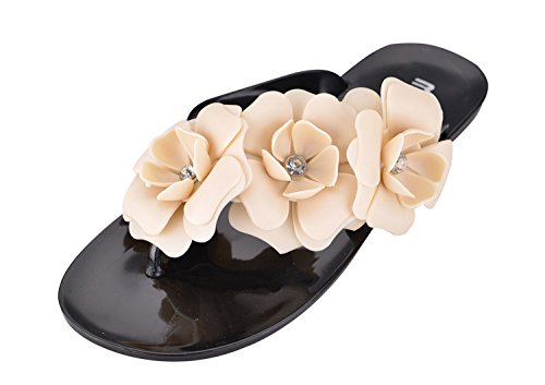 Platte Zomersandalen Voor Dames, Marine Stlye Flip Flop Jelly Flat Slippers Voor Strandzwart