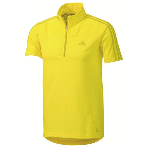 adidas Z18565 Men's Vivid Yellow Ts Short Sleeve 1/2 Zip Tee , 2XL