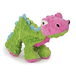 goDog Dinos Spike with Chew Guard Technology Plush Squeaker Dog Toy, Large, Green and Pink
