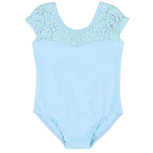 BAOHULU Girls Kids Sleeveless Flower Print Lace Leotard SZ7-8Years Blue