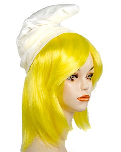 Adult Cartoon Smurf Girl Yellow Wig