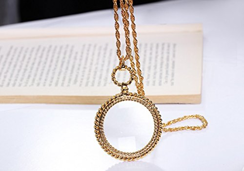 Mini Portable 2X Round Magnifer 41mm with Alloy Sweater Chain Necklace Hanging Magnifying Glass for Reading Newspaper,Magazine,Map,Science Class,Hobby,Jewelry,Inspects,Low Vision,for Kids&Seniors
