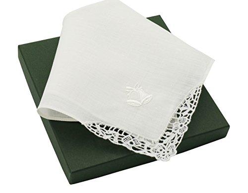 Irish Wedding Handkerchief (Thomas Ferguson Women's Small White Linen Lace Handkerchief in Wedding Bell Design 10