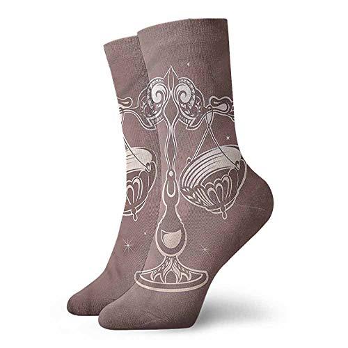 - Men Novelty Zodiac Libra Spirals Curves Stars Light Cushion Athletic Socks