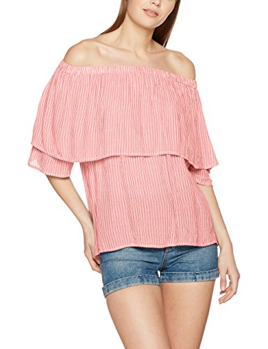 Vero Moda Vmjane Off Shoulder 2/4 Midi Top Dnm, Camiseta para Mujer Multicolor (Snow White Stripes:Hibiscus)