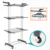 SUPJOO Clothes Drying Rack for Laundry 3 Tier,Rolling Garment Rack with Foldable Wings,Collapsable Standing Rack for Indoor/Outdoor,Heavyduty Stainless Steel Dryer Hanger Stand Rail - Gray