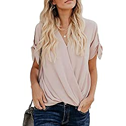 HOTAPEI Womens Tunic Blouses Casual Loose Summer Tie Short Sleeve Wrap V Neck Chiffon Work Blouses for Women Fashion 2019 Business Tops Shirts Apricot L