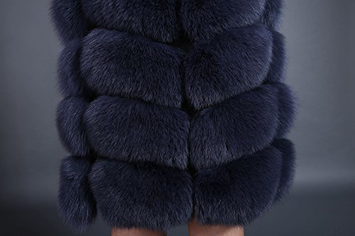 Lovingbeauty Long Navy Blue Vest Women Fox Fur Winter Gilet Outerwear Waistcoats (XXL) by Lovingbeauty (Image #4)