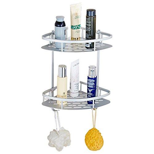 Bathroom Corner Shelf Rack No Drilling Aluminum 2 Tiers Shower Storage Corner Shelves with Hooks