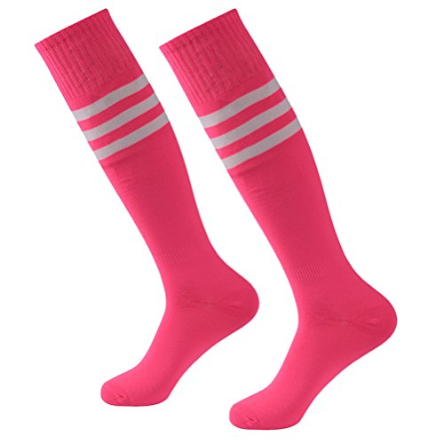 Soccer Socks,Fasoar Unisex Team Sports Football Long Tube Socks 2 Pair Pink White Stripe