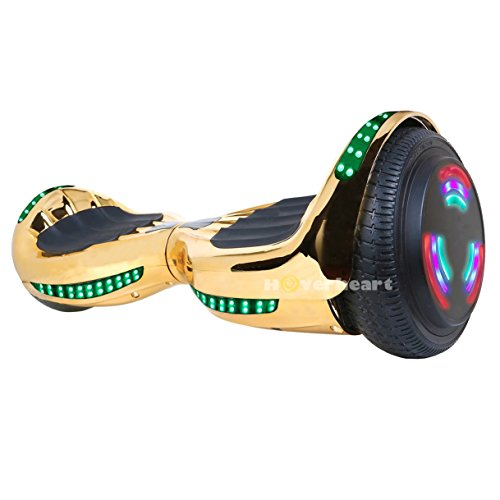 Hoverboard UL 2272 Certified Flash Wheel 6.5″ Bluetooth Speaker with LED Light Self Balancing Wheel Electric Scooter (Chrome Gold)