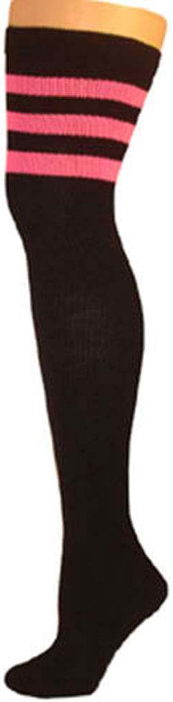 Black Retro Shorts w//Neon Red Trim and skatersocks-Lg
