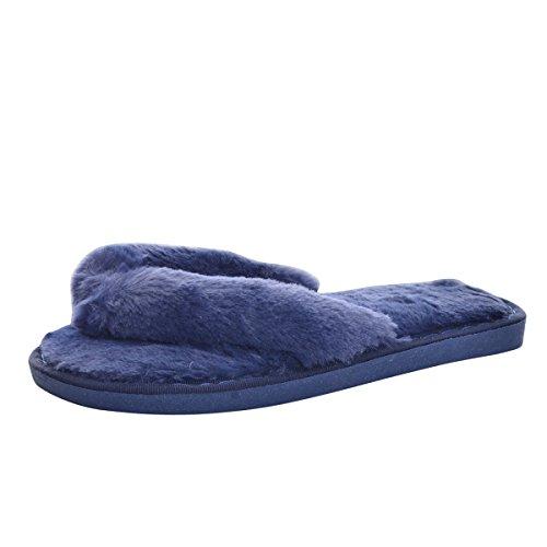 Chère Fois Fausse Fourrure Pantoufles Femmes Intérieur Doux Slip Sur Les Chaussures De Flats Maison Bleu Flip Flop