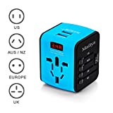 Mailiya International Travel Power Adapter All-in-one Universal Travel Adapter With 2.4A Dual USB Charger/LED Display & Worldwide AC Wall Outlet Plugs for UK, US, AU, EU, Asia - Included Travel Pouch