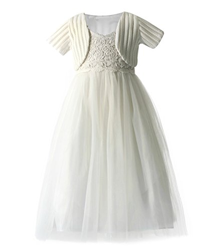 Cheap Little Girl Dresses (Funtrees Little Girls' Berry Petal Occasian Tulle Dress Set Size 2-3T Set Ivory)
