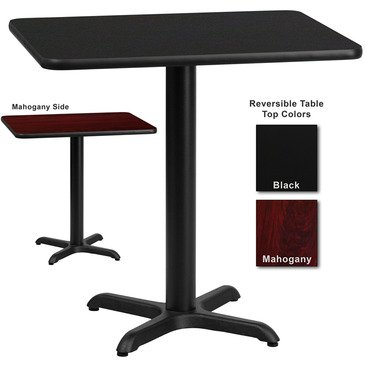 Flash Furniture 30 Inch X 42 Inch Rectangular Dining Table W/ Black Or Mahogany Reversible Laminate Top