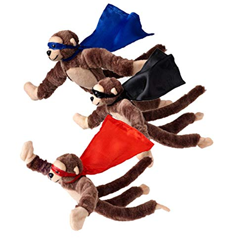 Set of 3 Flying Flingshot Howler Monkeys Plush Toys with Sound, 11.5''H (Slingshot Monkey)