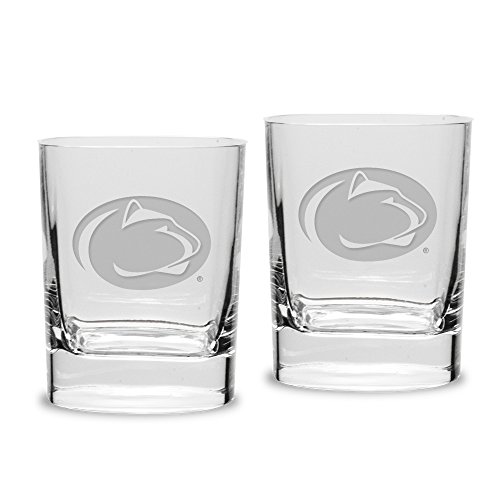 - NCAA Penn State Nittany Lions Adult Set of 2 - 14 oz Square Double Old Fashion Glasses Deep Etched Engraved, One Size, Clear