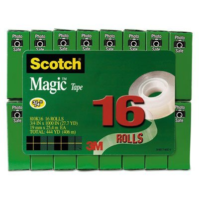 Magic Tape Value Pack, 3/4'''' x 1000'''', 1'''' Core, Clear, 16/Pack, Sold as 16 Roll