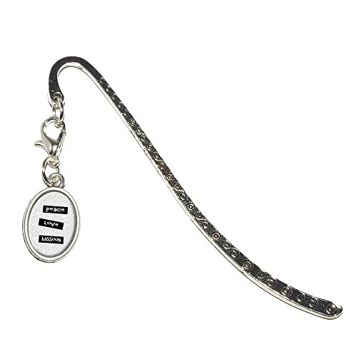 - Peace Love Bassoon Metal Bookmark Page Marker with Oval Charm