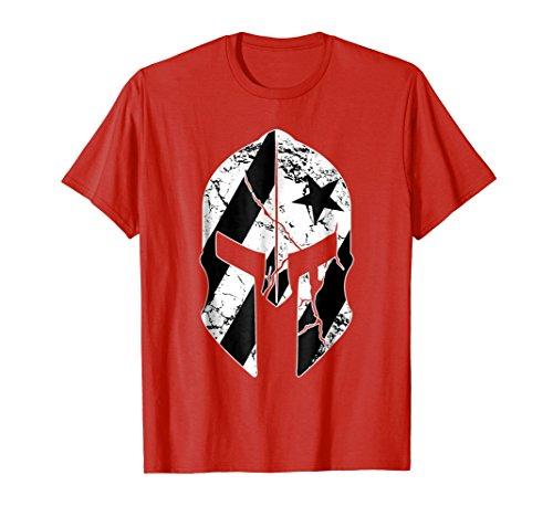 Puerto Rico Black Flag T Shirt Tshirt Spartan Helmet Mask