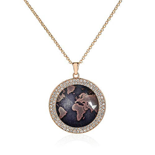 Luxcase Custom Fashion Retro Crystal Glass Rose Gold Copper Plating Pendant Necklace Jewelry Gift