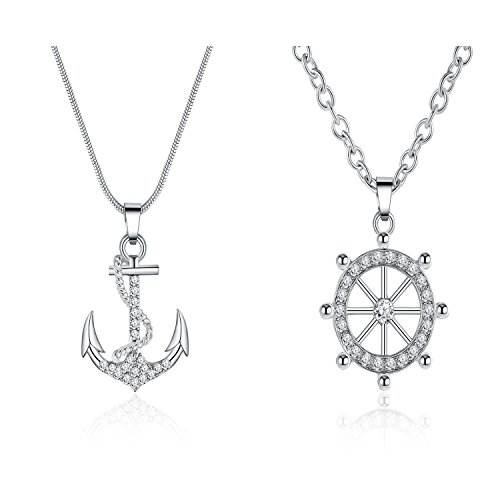 Majesto Jewelry Set – Anchor 2 Piece Necklace Pendants for Women Teen Little Girls - Fashion Prime Gift 18K Gold Plated by Majesto