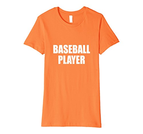 Baseball Player Costume Female (Womens Baseball Player Halloween Costume Party Cute & Funny T shirt Large Orange)
