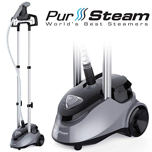 PurSteam Full Size Garment Fabric Steamer Professional Heavy Duty Industry Leading 2.5 Liter (85 fl.oz.) Water Tank Producing Over 60min of Continuous Steam with 4 Level Steam Adjustment (Best Tank In The World)