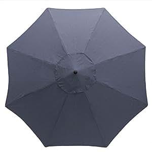 Hampton Bay 11pies. Patio de aluminio paraguas | polo color–gris