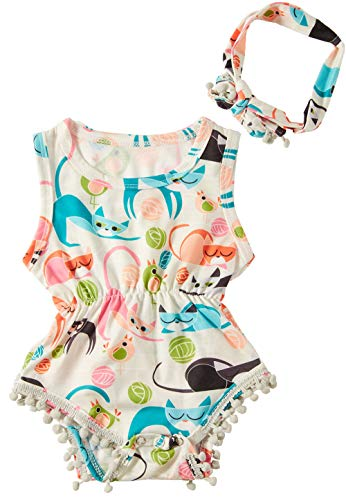 Baby Girls Rompers Onesies Personalized Colorful Cats Pattern Sleeveless Bodysuit OutfitsBodysuit Printing Romper 1-2T