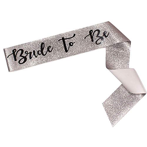 Bride To Be Sparkle Sash - Bachelorette Party, Bridal Shower - Wedding Decoration, Bridal Accessories, Engagement Party, Accessory, Sparkly - Bride to Be Gift (Silver and Black)
