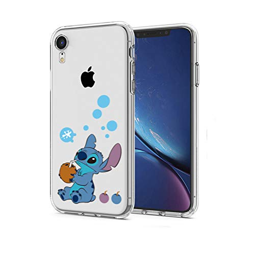 super popular ca8a2 cfad3 iPhone XR Case, Stitch Drink Coconut Milk 3D Printed Soft Clear Cute Ultra  Slim Case