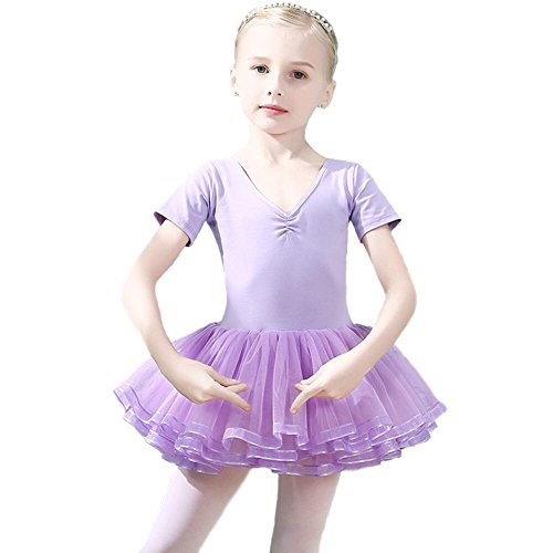 - Winzero Girls Ballet Tutu Slim Dress Short Sleeve Soft Cotton with Back Bow-knot for Dancing Athletic Leotards Age 4-9 Years