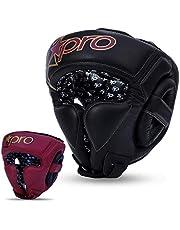 Starpro Casco Boxeo Protección Cabeza - Suave Cuero Genuino para Las Orejas y Las Mejillas Utilizada para Kickboxing MMA Muay Thai Lucha de Karate Entrenamiento Artes Marciales