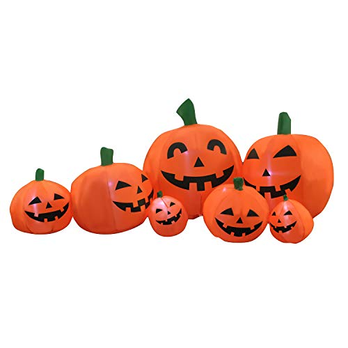 Halloween Pumpkin Carriage Inflatable (SEASONBLOW 7 Ft Halloween Inflatable Pumpkin Patch Family Decoration Jack-o-Lantern Airblown Decor for Lawn Yard Home Party Indoors)