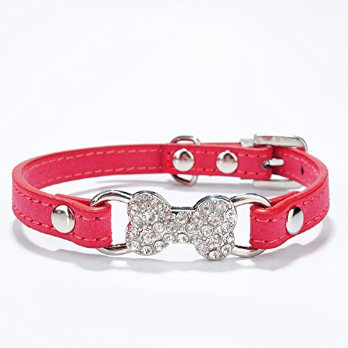 Neonr Double Suede Material Bling Rhinestone Bone Decoration Pet Collar for Small Dog Cat.(Red) (Bling Charms Bone)