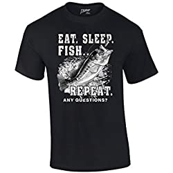 Fishing T-Shirt Eat Sleep Fish Repeat-Black-large