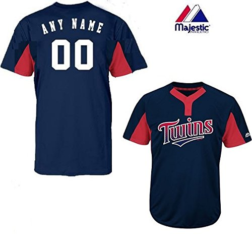Navy/Red 2-Button Cool-Base Minnesota Twins Blank or CUSTOM Back (Identify/#) MLB Officially Licensed Baseball Placket Jersey – DiZiSports Store