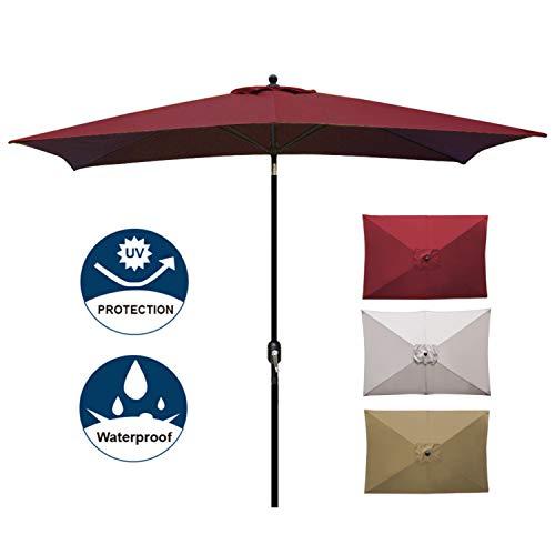 (Blissun Rectangular Patio Umbrella 10' Outdoor Market Table Umbrella with Push Button Tilt and Crank (Red))