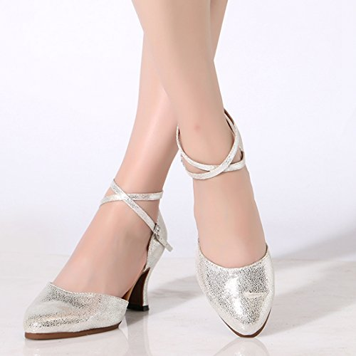 Ankle Heel Womens Pumps Strap Shoes Miyoopark Leather Comfortable Latin 7cm Silver Evening Dance Ha7wO6xn
