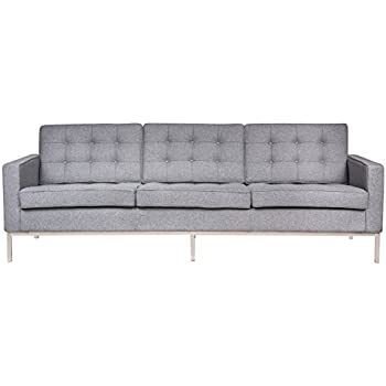 Amazon Com Leisuremod Lorane Upholstered Sofa Light Grey