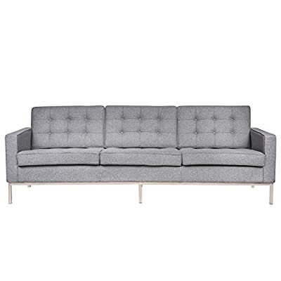 LeisureMod VCFS90LGRW Lorane Upholstered Sofa Light Grey Wool - Fabric is a premium Cashmere Wool blend: 50% Cashmere Wool, 50% viscose Removable Back and Seat Cushions feature rear zippers and are Attached to the Back with Velcro to Ensure they stay in place for a neat look. Hand-tufted buttons Stainless Steel frame Joints are fully Welded, grind, sealed and Sanded. Carefully constructed with a traditional hardwood box frame - sofas-couches, living-room-furniture, living-room - 41hUIbKCs6L. SS400  -