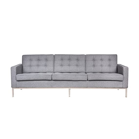 LeisureMod Florence Style Mid Century Modern Tufted Sofa (Light Grey Wool) -  - sofas-couches, living-room-furniture, living-room - 41hUIbKCs6L. SS570  -