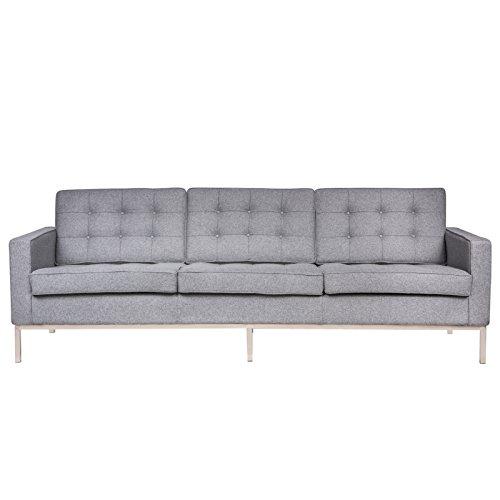 LeisureMod Modern Florence Style Sofa, Light Grey Wool - Sanded Loveseat