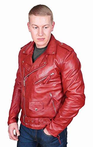 Veste En Cuir Réversible Pour Homme En Cuir Véritable Pour Homme Rouge Manteau Classique Populaire Populaire - Elvis