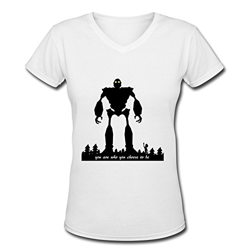 [AOPO The Iron Giant V-Neck Short Sleeve T-shirts For Women Medium White] (Book Week Costumes For Sale)