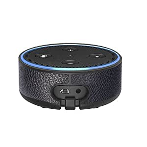 Amazon Echo Dot Case - Wall Mount Portable Protective Hard Case with Leather Wall Holder Mount for Amazon Echo Dot (2nd Generation) by Ashipher (Black)