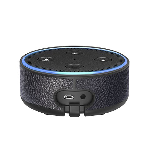 Ashipher Amazon Echo Dot Case - Wall Mount Portable Protective Hard Case with Leather Wall Holder Mount for Amazon Echo Dot (2nd Generation) by (Black)