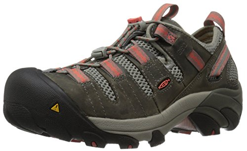 Keen Utility Women's Atlanta Cool Soft Toe ESD Industrial and Construction Shoe, Gargoyle/Hot Coral, 7.5 M US